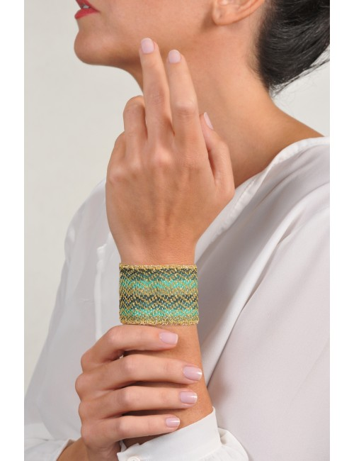 ZIG ZAG Bracelet in Sterling Silver 18Kt. Gold plated. Fabric: Silk Shades of Green