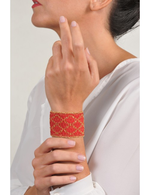 Bracciale ROMBO in Argento 925 bagno oro Giallo 18Kt. Tessuto: Seta Rossa