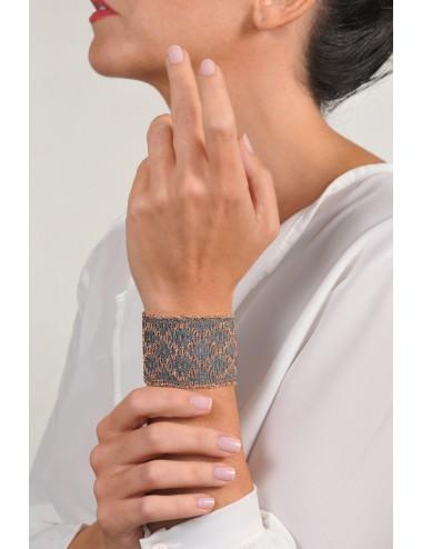Bracciale ROMBO in Argento 925 bagno oro Rosa 14Kt. Tessuto: Seta Grigia