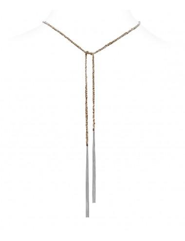 Collana TWIST in Argento 925 Rodiato. Tessuto: Seta Marrone