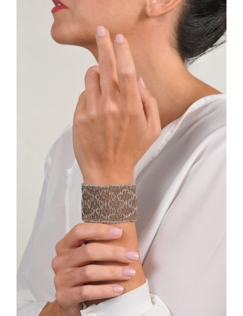 RHOMBUS Bracelet in Sterling Silver Rhodium plated. Fabric: Silk Brown