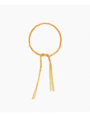Bracciale TWIST in Argento 925 bagno oro Giallo 18Kt. Tessuto: Seta Arancio