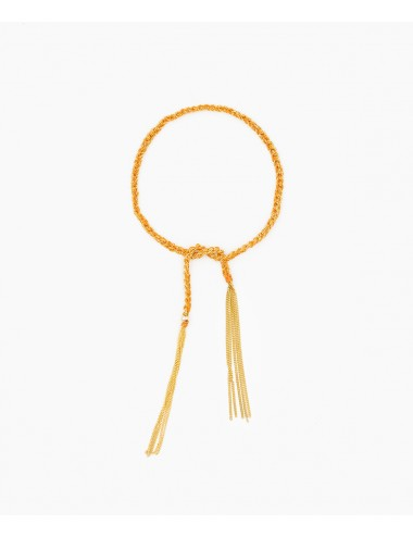 TWIST Bracelet in Sterling Silver 18Kt. Yellow gold plated. Fabric: Orange