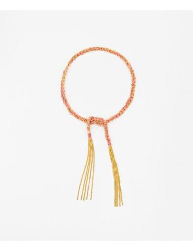 Bracciale TWIST in Argento 925 bagno oro Giallo 18Kt. Tessuto: Seta Rosa