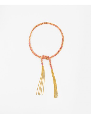 TWIST Bracelet in Sterling Silver 18Kt. Yellow gold plated. Fabric: Pink