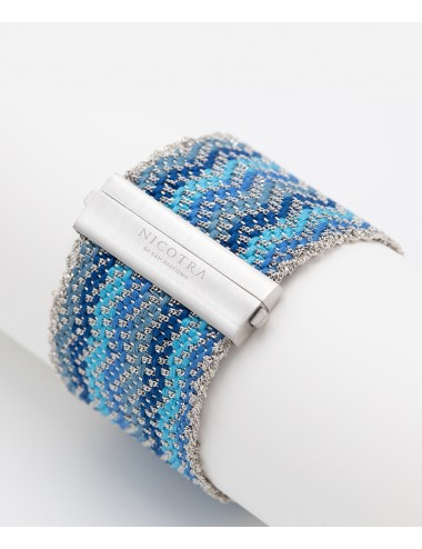ZIG ZAG Bracelet in Sterling Silver Rhodium plated. Fabric: Silk Shades of Blue