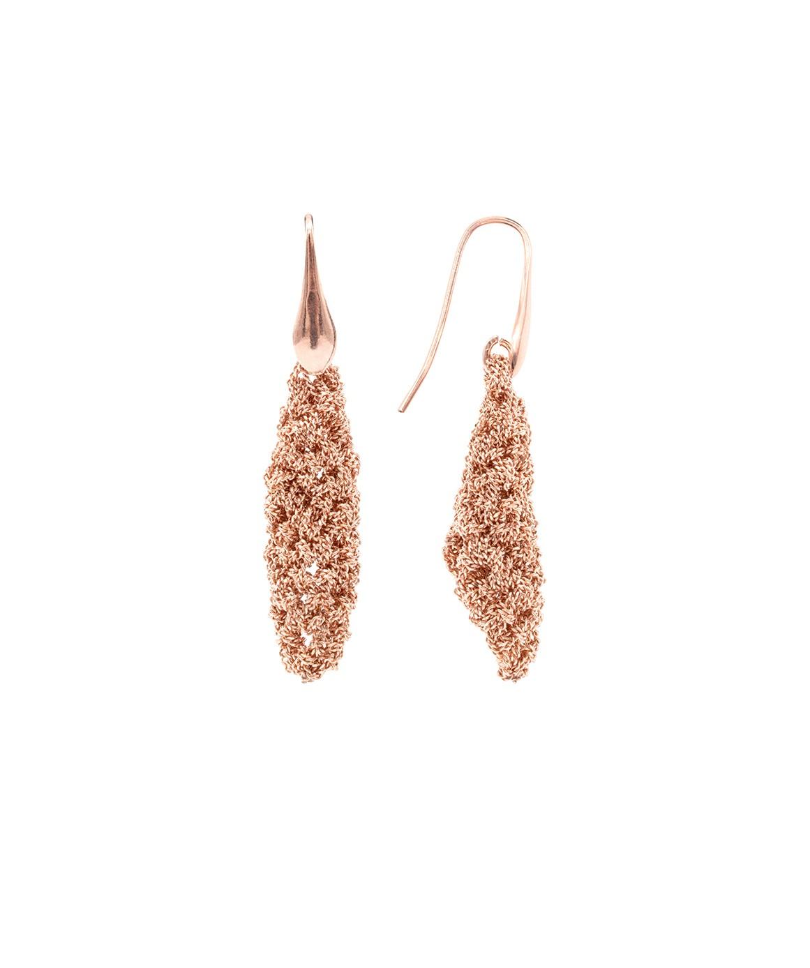 RHOMBUS SHORT Earrings in Sterling Silver 14Kt. Rose gold plated