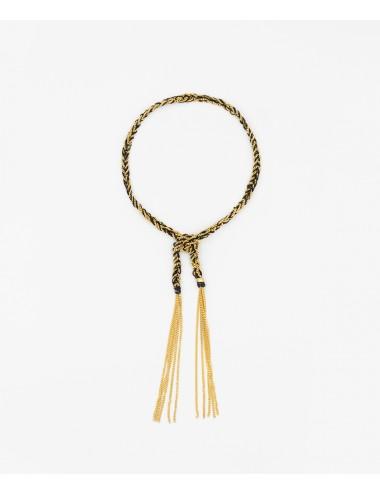 Bracciale TWIST in Argento 925 bagno oro Giallo 18Kt. Tessuto: Seta Nera