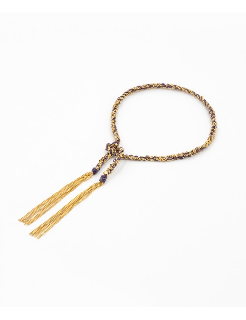 Bracciale TWIST in Argento 925 bagno oro Giallo 18Kt. Tessuto: Seta Viola