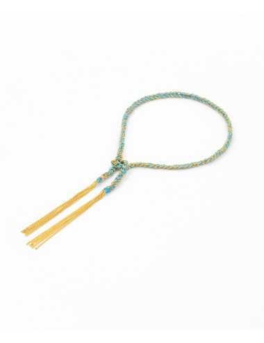 TWIST Bracelet in Sterling Silver 18Kt. Yellow gold plated. Fabric: Turquoise