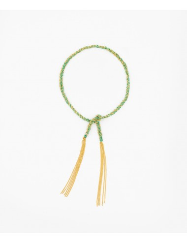TWIST Bracelet in Sterling Silver 18Kt. Yellow gold plated. Fabric: Emerald