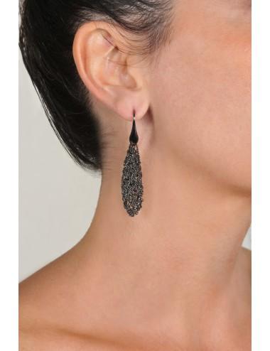 RHOMBUS SHORT Earrings in Sterling Silver Ruthenium plated