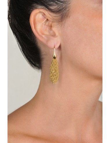 RHOMBUS SHORT Earrings in Sterling Silver 18Kt. Yellow gold plated