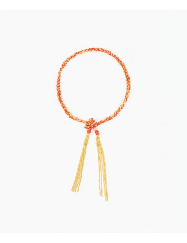TWIST Bracelet in Sterling Silver 18Kt. Yellow gold plated. Fabric: Red