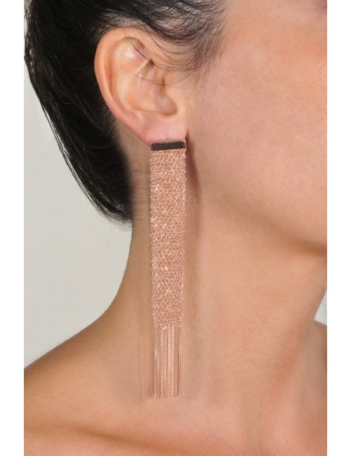 FLUTE Earrings in Sterling Silver 14Kt. Rose gold plated