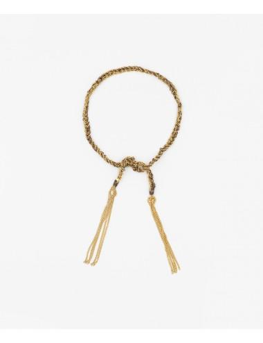 Bracciale TWIST in Argento 925 bagno oro Giallo 18Kt. Tessuto: Seta Marrone