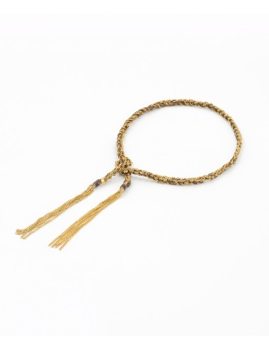TWIST Bracelet in Sterling Silver 18Kt. Yellow gold plated. Fabric: Brown