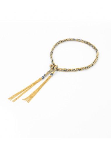 Bracciale TWIST in Argento 925 bagno oro Giallo 18Kt. Tessuto: Seta Jeans