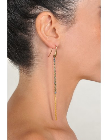 TWIST Earrings in Sterling Silver 18Kt. Yellow gold plated. Fabric: Jeans