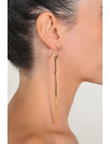 Orecchini TWIST in Argento 925 bagno oro Giallo 18Kt. Tessuto: Seta Marrone