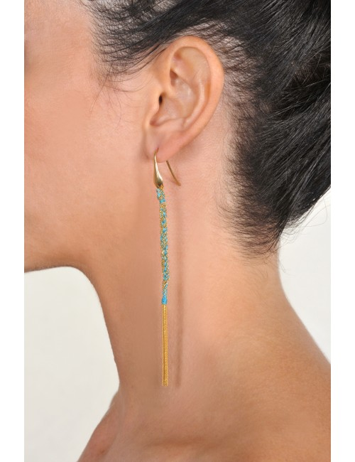 TWIST Earrings in Sterling Silver 18Kt. Yellow gold plated. Fabric: Turquoise