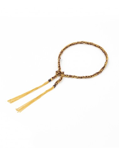 TWIST Bracelet in Sterling Silver 18Kt. Yellow gold plated. Fabric: Bordeaux