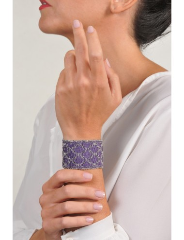 RHOMBUS Bracelet in Sterling Silver Rhodium plated. Fabric: Silk Purple