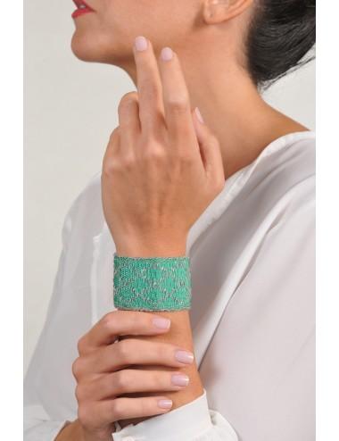 Bracciale ROMBO in Argento 925 Rodiato. Tessuto: Seta Smeraldo