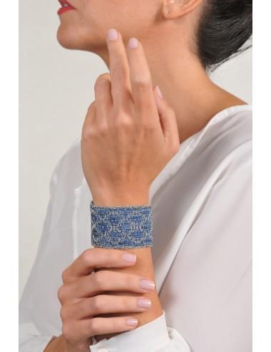 RHOMBUS Bracelet in Sterling Silver Rhodium plated. Fabric: Silk Jeans