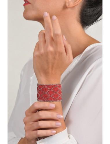 RHOMBUS Bracelet in Sterling Silver Rhodium plated. Fabric: Silk Red