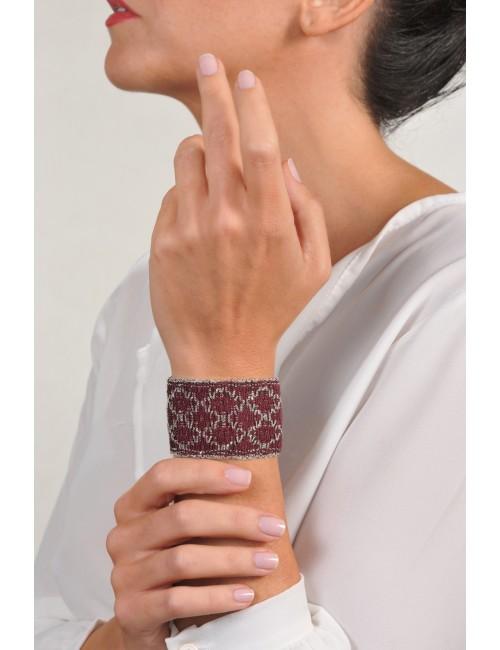 Bracciale ROMBO in Argento 925 Rodiato. Tessuto: Seta Bordeaux