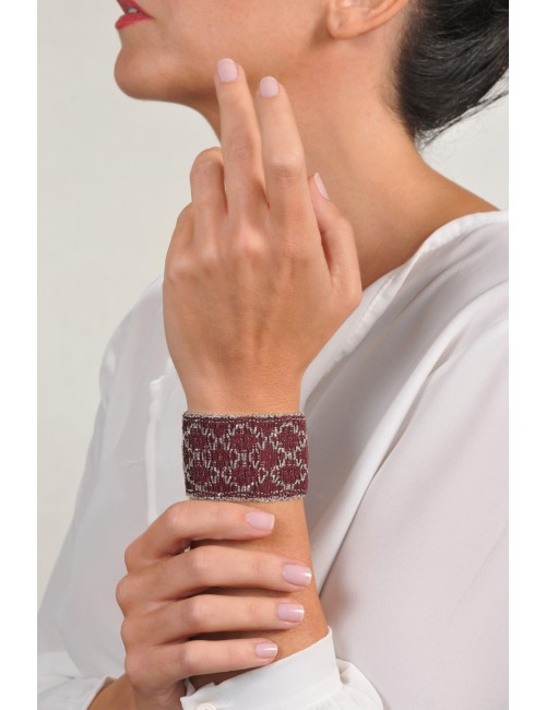 RHOMBUS Bracelet in Sterling Silver Rhodium plated. Fabric: Silk Bordeaux
