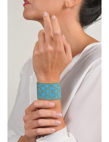 RHOMBUS Bracelet in Sterling Silver 18Kt. Gold plated. Fabric: Silk Turquoise