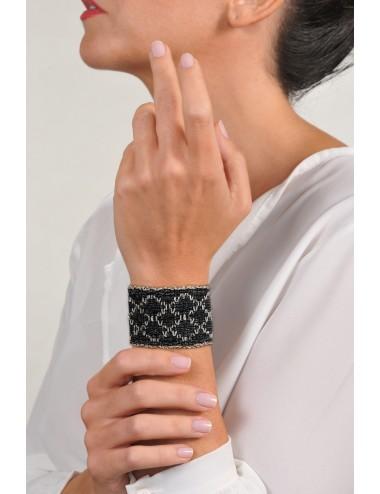 RHOMBUS Bracelet in Sterling Silver Rhodium plated. Fabric: Silk Black