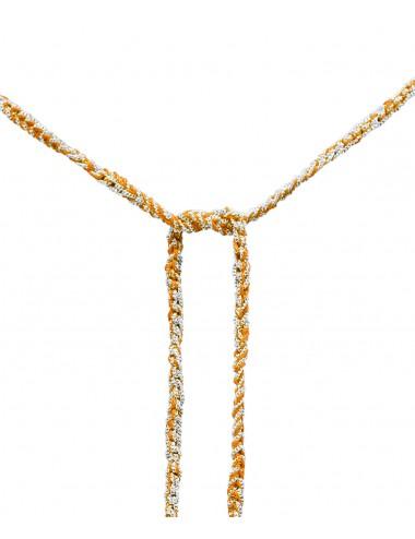Collana TWIST in Argento 925 Rodiato. Tessuto: Seta Arancio