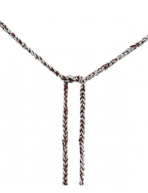 Collana TWIST in Argento 925 Rodiato. Tessuto: Seta Bordeaux