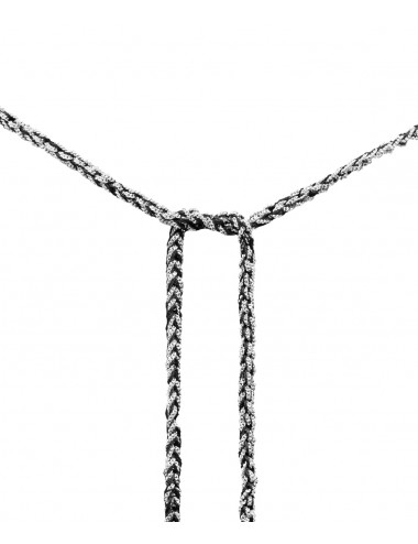 TWIST Necklaces in Sterling Silver Rhodium plated. Fabric: Black
