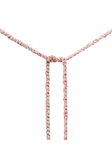 TWIST Necklaces in Sterling Silver Rhodium plated. Fabric: Pink