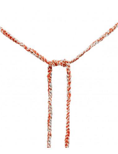 Collana TWIST in Argento 925 Rodiato. Tessuto: Seta Rossa