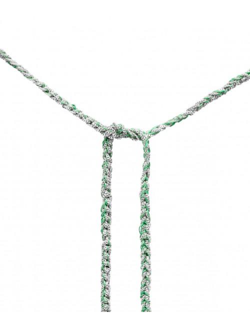 Collana TWIST in Argento 925 Rodiato. Tessuto: Seta Smeraldo