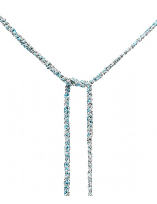 TWIST Necklaces in Sterling Silver Rhodium plated. Fabric: Turquoise
