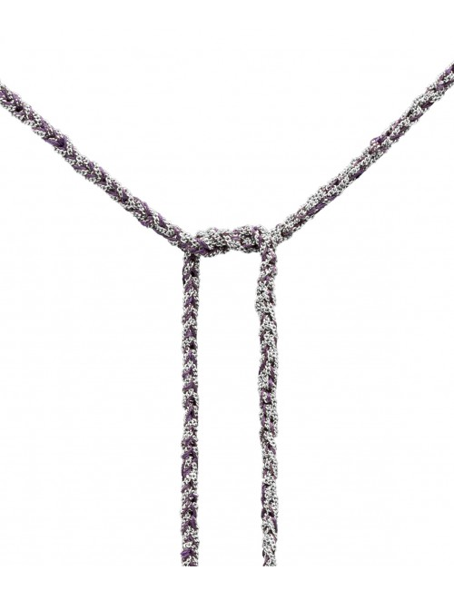 TWIST Necklaces in Sterling Silver Rhodium plated. Fabric: Purple