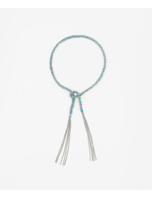 TWIST Bracelet in Sterling Silver Rhodium plated. Fabric: Turquoise