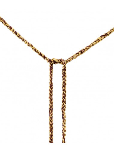 Collana TWIST in Argento 925 bagno oro Giallo 18Kt. Tessuto: Seta Bordeaux