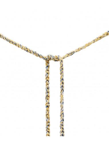 Collana TWIST in Argento 925 bagno oro Giallo 18Kt. Tessuto: Seta Jeans
