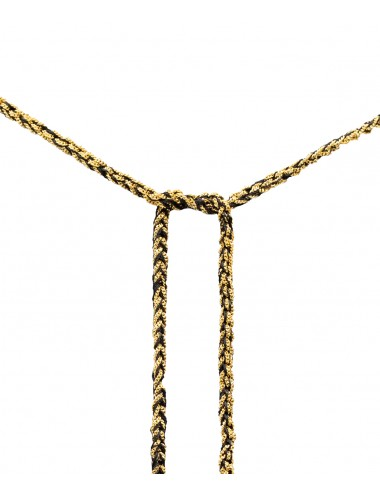 TWIST Necklaces in Sterling Silver 18Kt. Yellow gold plated. Fabric: Black