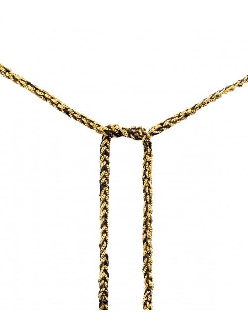Collana TWIST in Argento 925 bagno oro Giallo 18Kt. Tessuto: Seta Nera