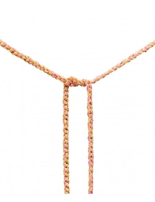 Collana TWIST in Argento 925 bagno oro Giallo 18Kt. Tessuto: Seta Rosa