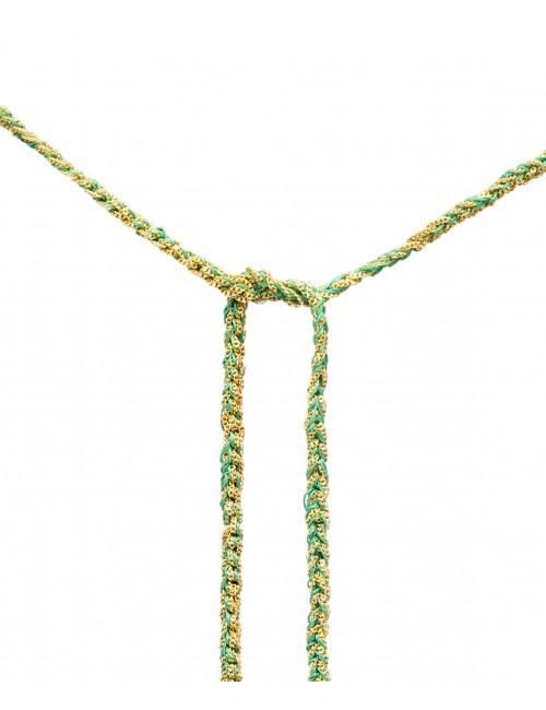 Collana TWIST in Argento 925 bagno oro Giallo 18Kt. Tessuto: Seta Smeraldo