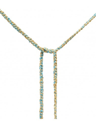 Collana TWIST in Argento 925 bagno oro Giallo 18Kt. Tessuto: Seta Turchese